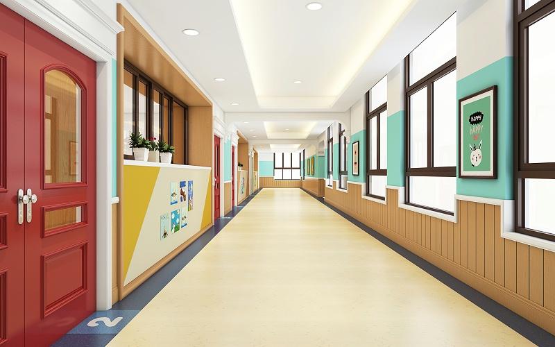 幼儿园走廊设计中首先需要考虑的因素就是安全因素,在注重材料环保的同时,还要保证地面不会滑。避免摆放任何可能影响幼儿安全因素的的家具,在走廊的拐弯以及墙角位置都要做出安全提示,另外幼儿园走廊最好用海绵夹层进行软包,这样可以最大限度的避免孩子的碰伤和其它安全隐患。 其次,幼儿园走廊设计要连贯通畅,尽量保证走廊的宽度在1.